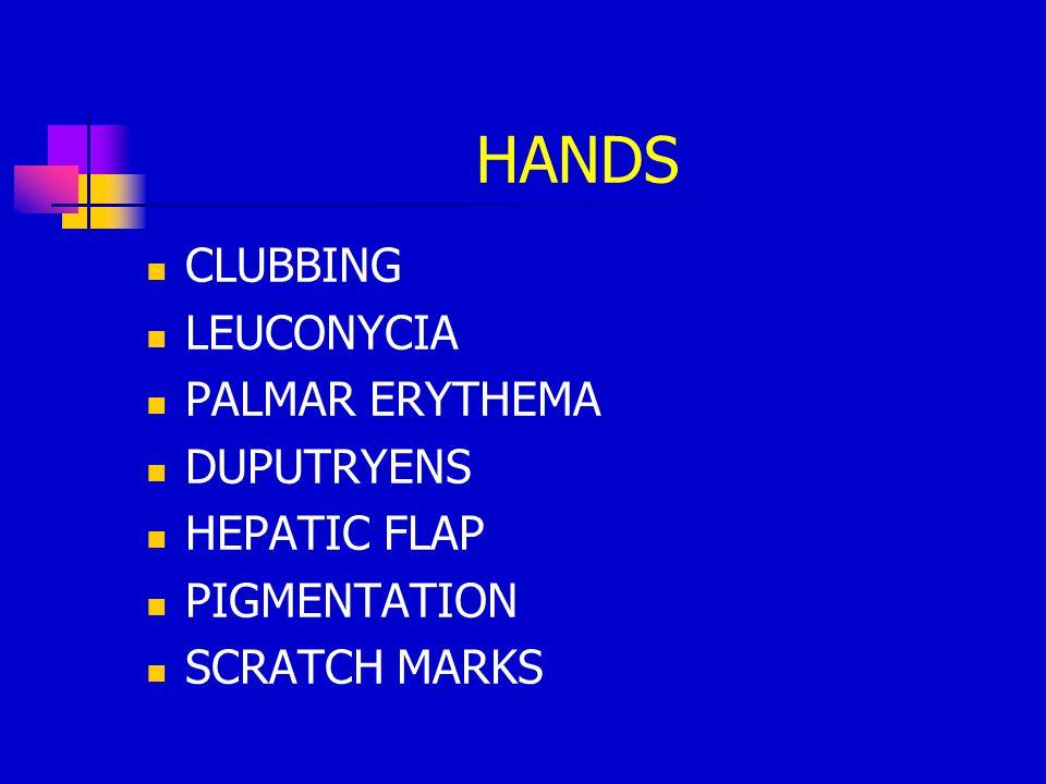 HANDS CLUBBING LEUCONYCIA PALMAR ERYTHEMA DUPUTRYENS HEPATIC FLAP