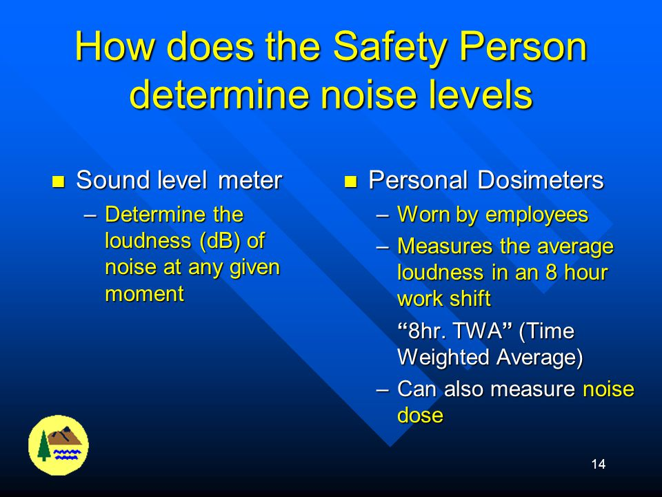 How does the Safety Person determine noise levels