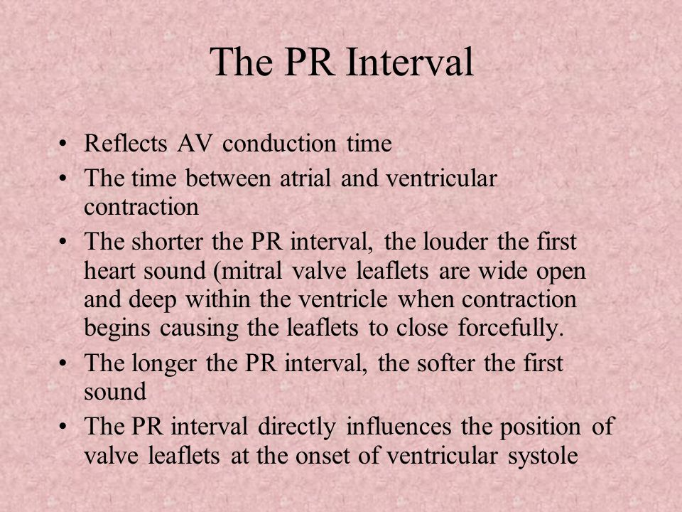 The PR Interval Reflects AV conduction time