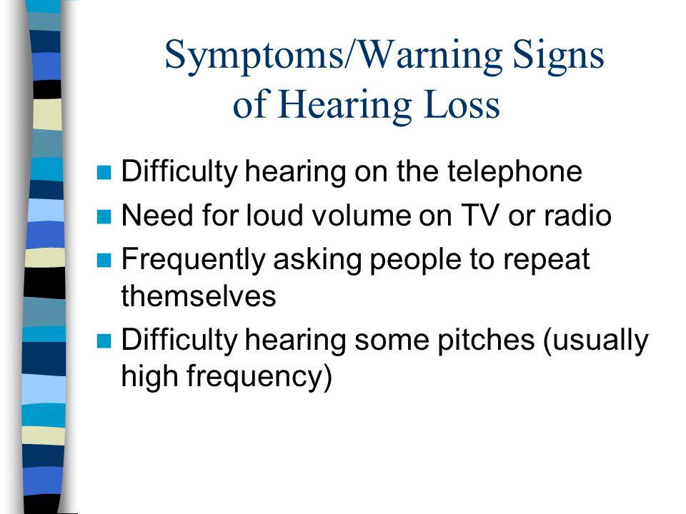 Symptoms/Warning Signs of Hearing Loss