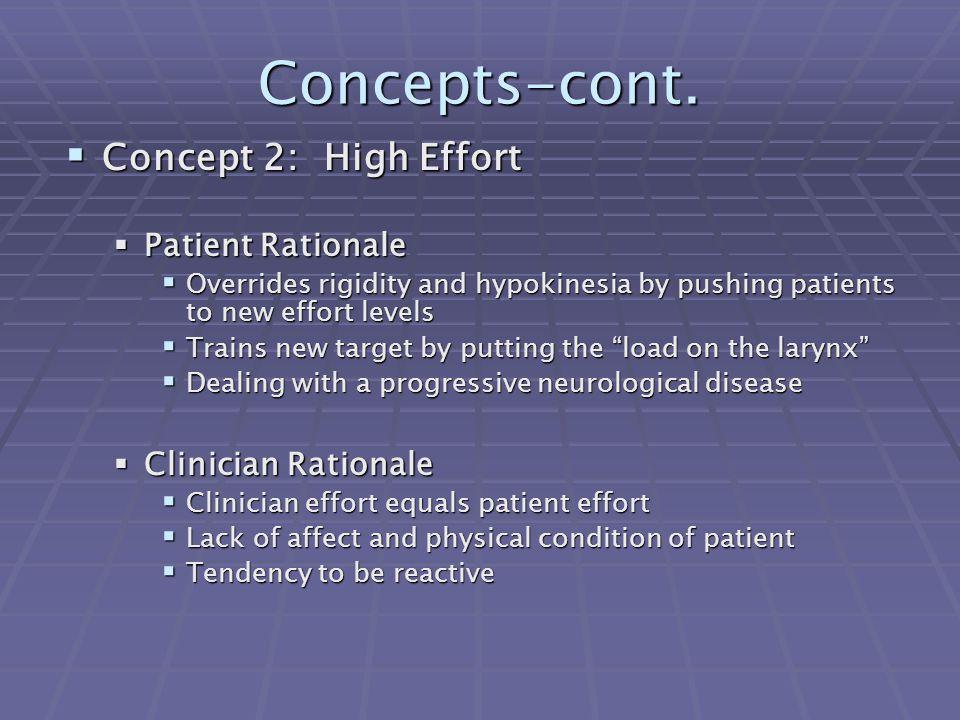 Concepts-cont. Concept 2: High Effort Patient Rationale