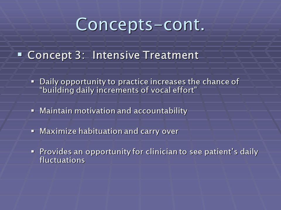 Concepts-cont. Concept 3: Intensive Treatment
