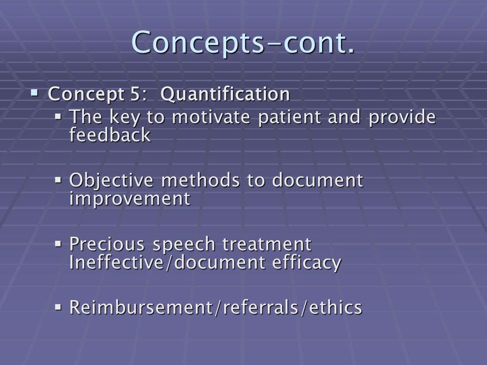 Concepts-cont. Concept 5: Quantification
