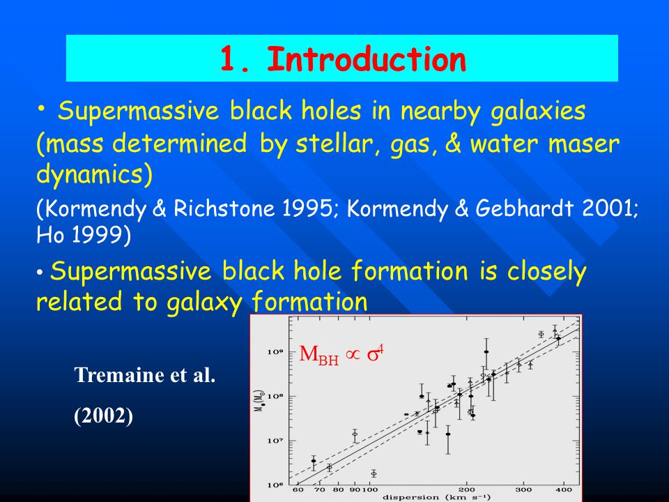 1. Introduction Supermassive black holes in nearby galaxies (mass determined by stellar, gas, & water maser dynamics)