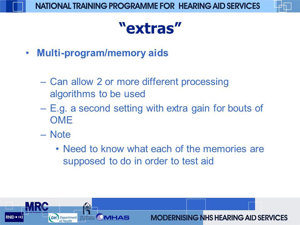 extras Multi-program/memory aids