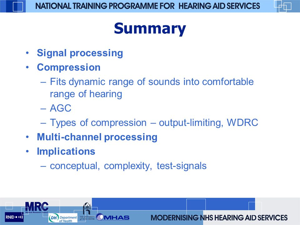 Summary Signal processing Compression