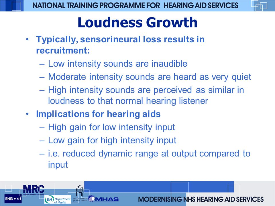 Loudness Growth Typically, sensorineural loss results in recruitment: