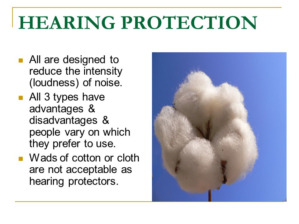 HEARING PROTECTION All are designed to reduce the intensity (loudness) of noise.