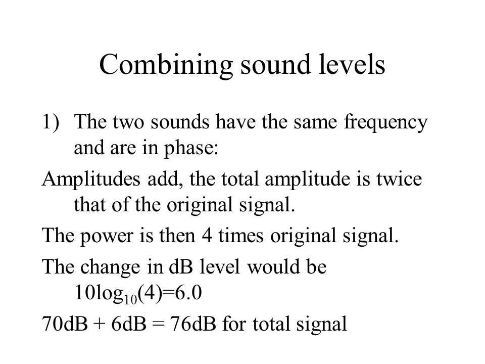 Combining sound levels