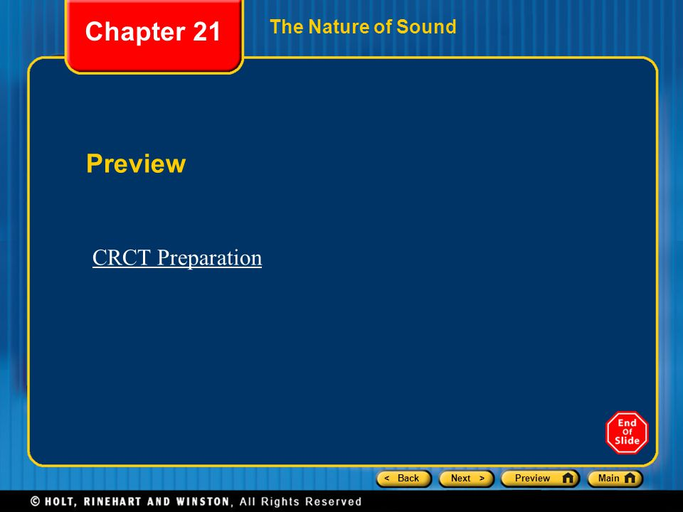 Chapter 21 The Nature of Sound Preview CRCT Preparation
