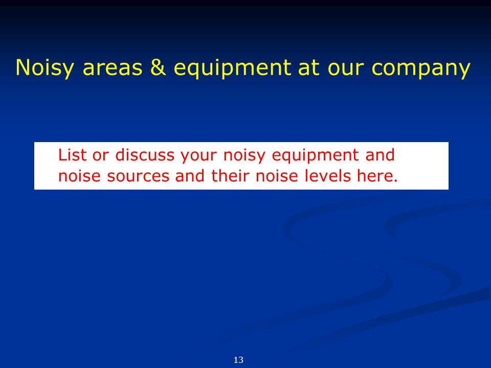 Noisy areas & equipment at our company
