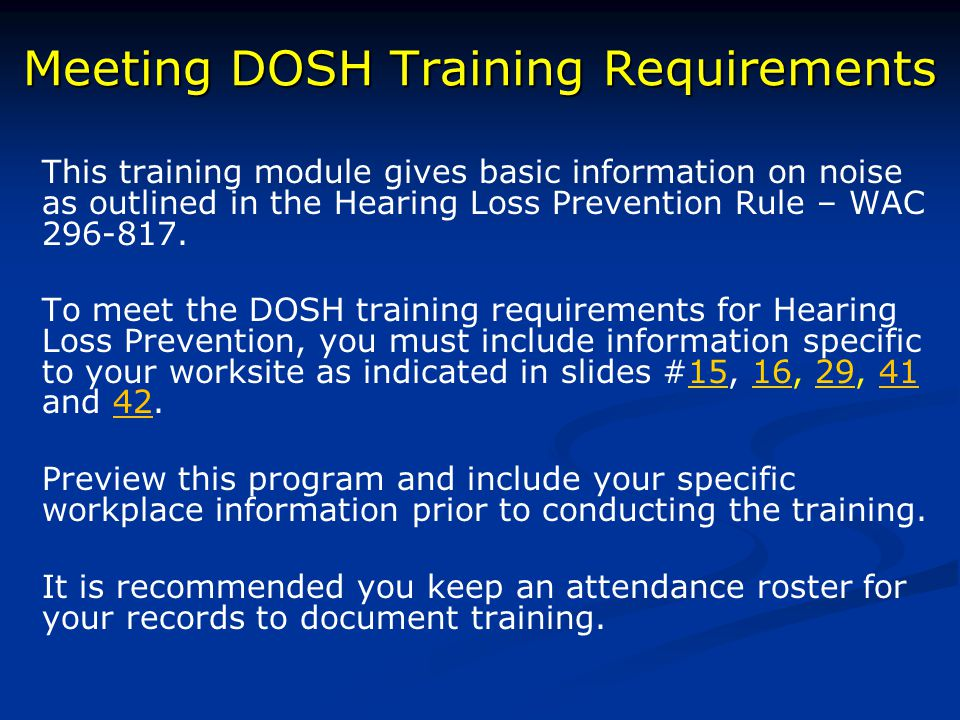 Meeting DOSH Training Requirements