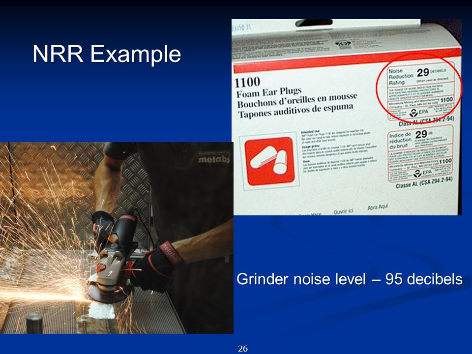 NRR Example Grinder noise level – 95 decibels
