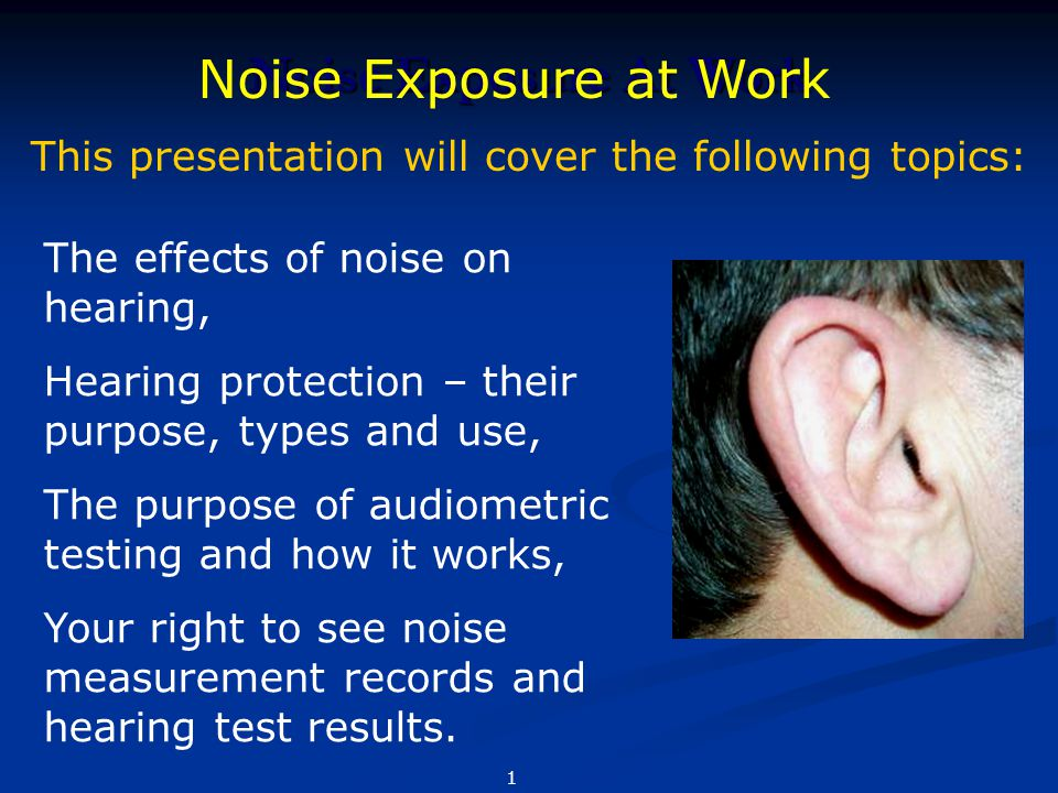Noise Exposure At Work Noise Exposure at Work