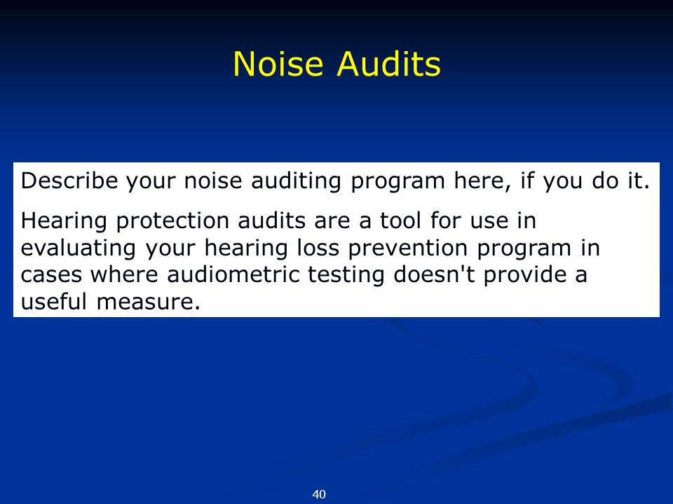 Noise Audits Describe your noise auditing program here, if you do it.
