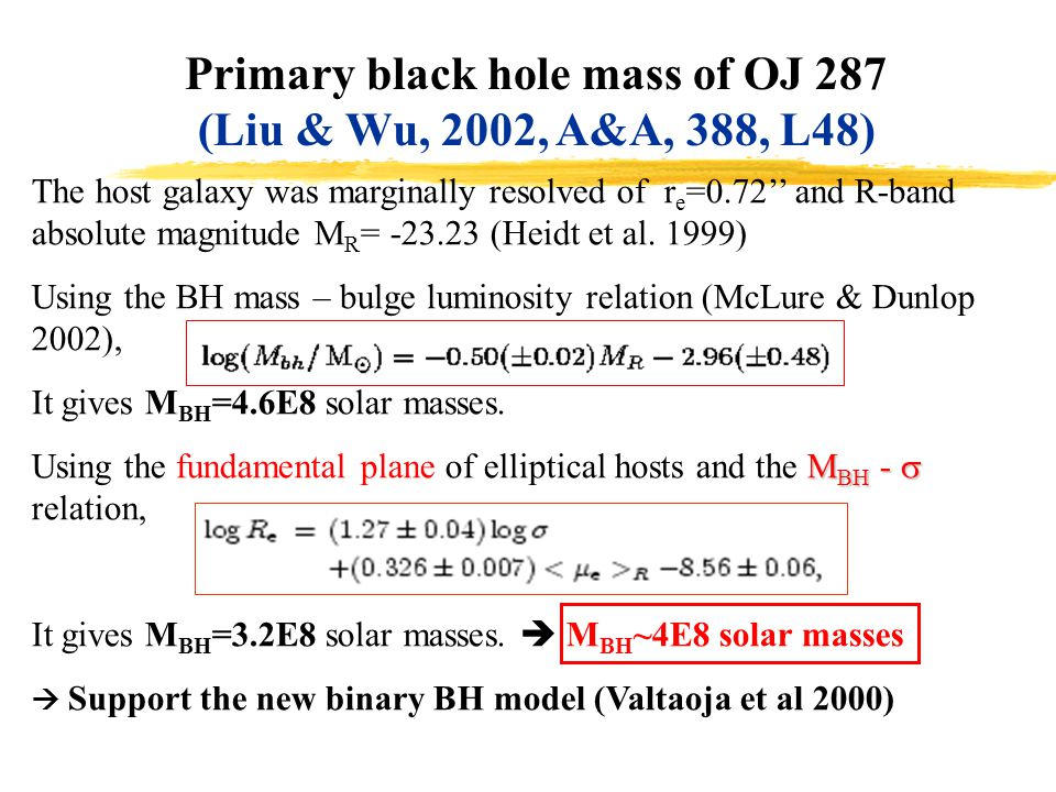 Primary black hole mass of OJ 287