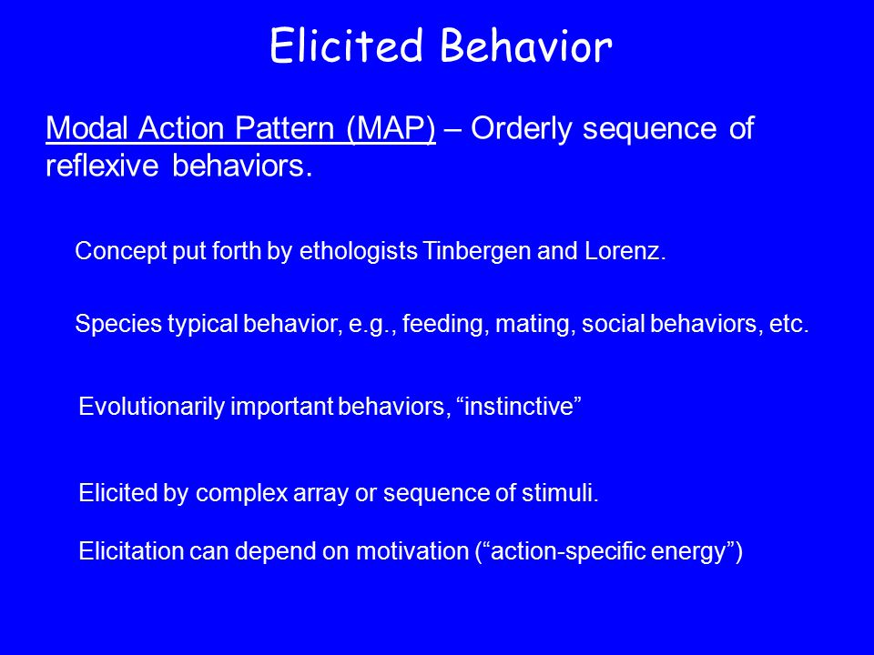 Elicited Behavior Modal Action Pattern (MAP) – Orderly sequence of reflexive behaviors. Concept put forth by ethologists Tinbergen and Lorenz.