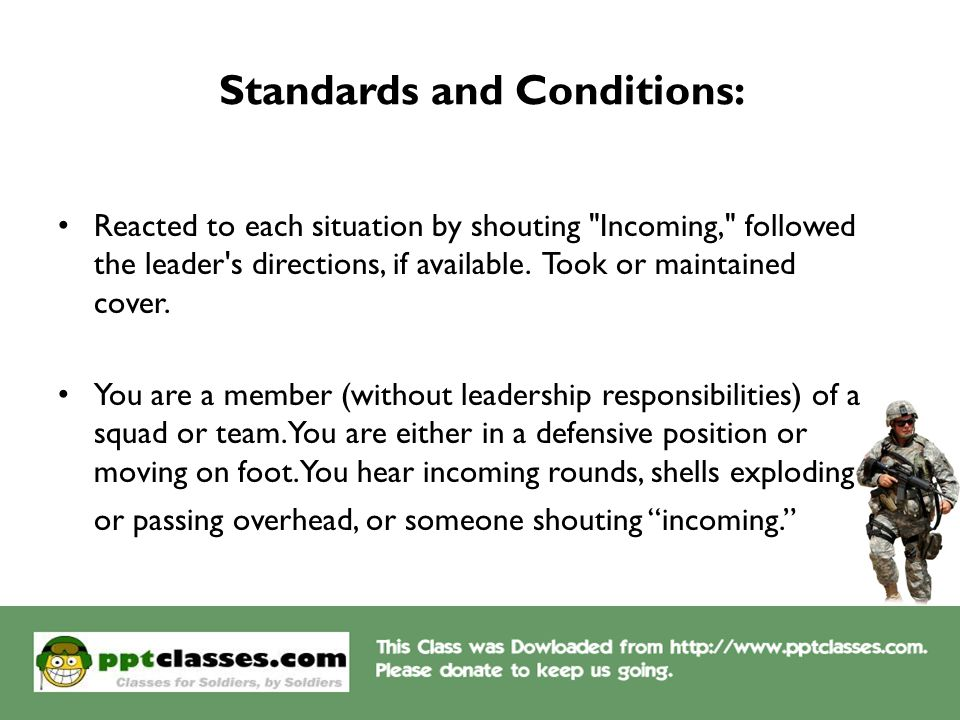 Standards and Conditions: