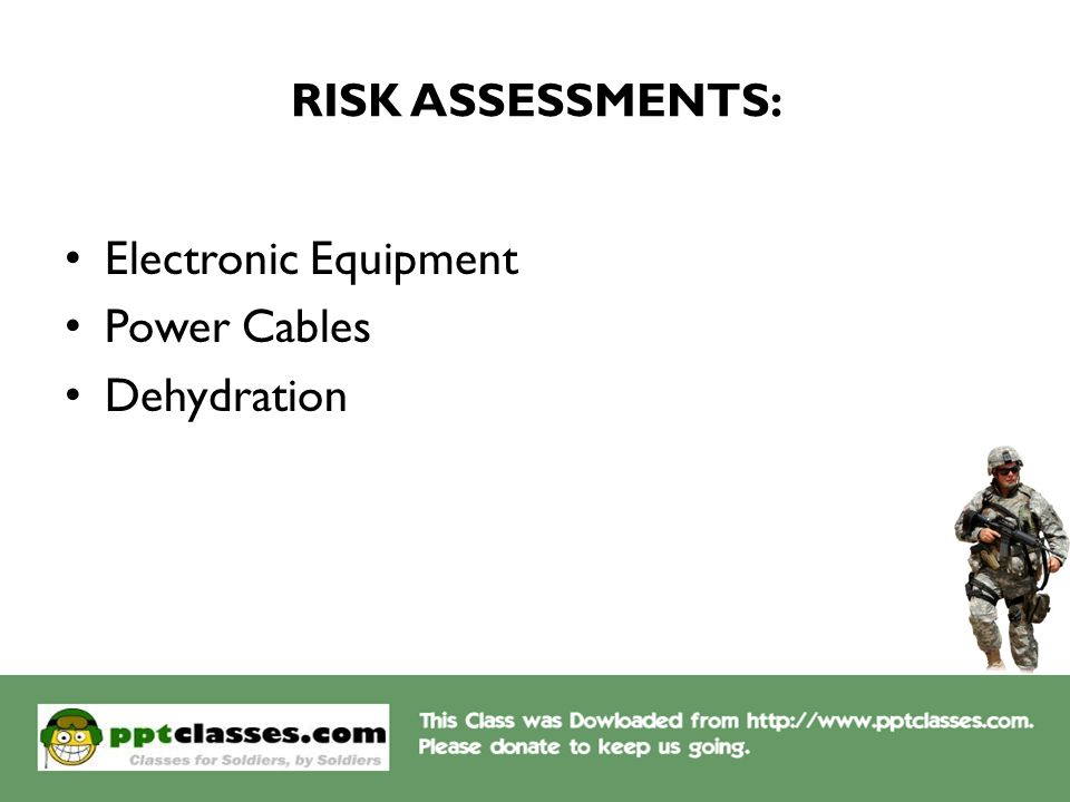 RISK ASSESSMENTS: Electronic Equipment Power Cables Dehydration