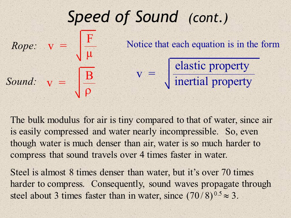 Speed of Sound (cont.) v = v = v = Rope: Sound: