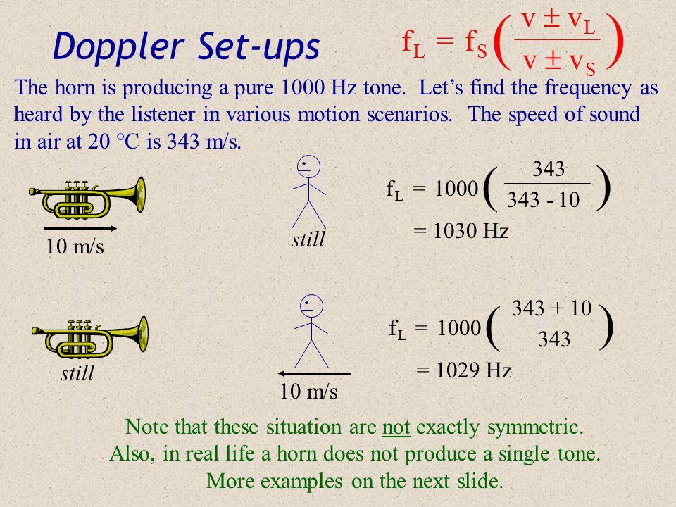 ( ) ( ) ( ) Doppler Set-ups v  v L f L = f S v  v S