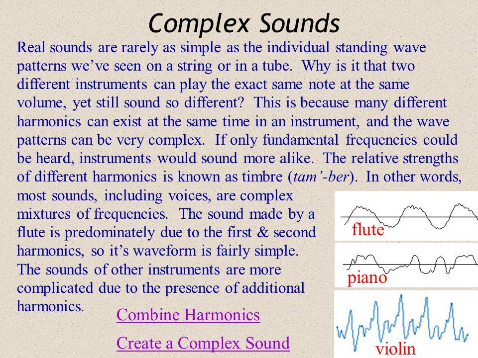 Complex Sounds flute piano violin Combine Harmonics