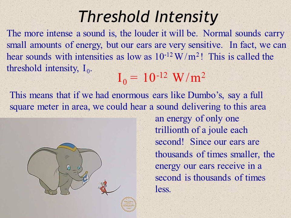Threshold Intensity I 0 = 10 -12 W / m 2