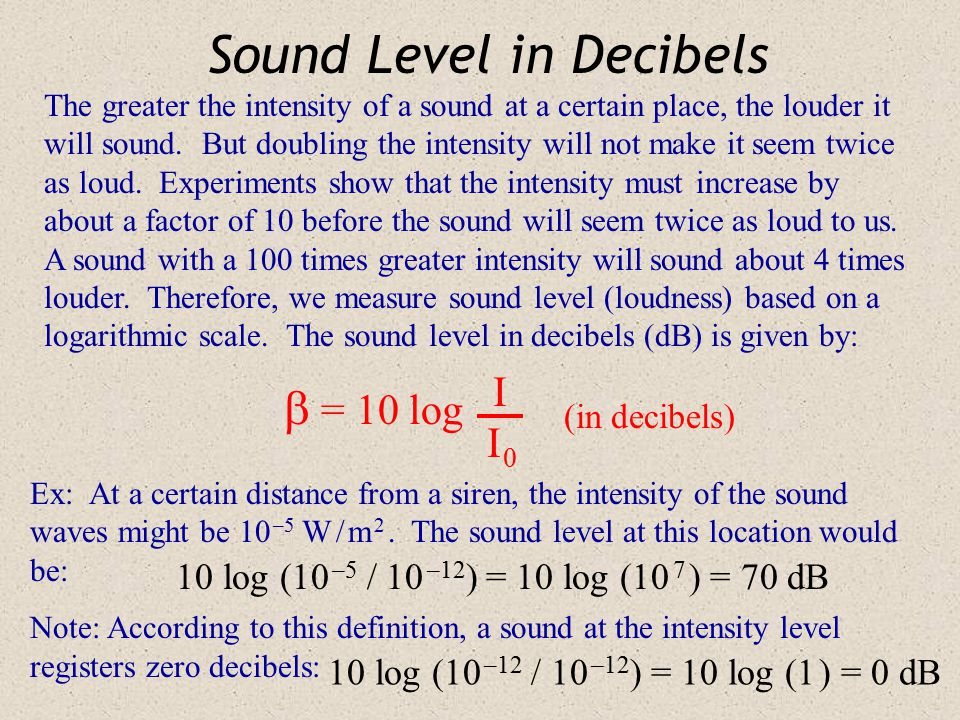 Sound Level in Decibels