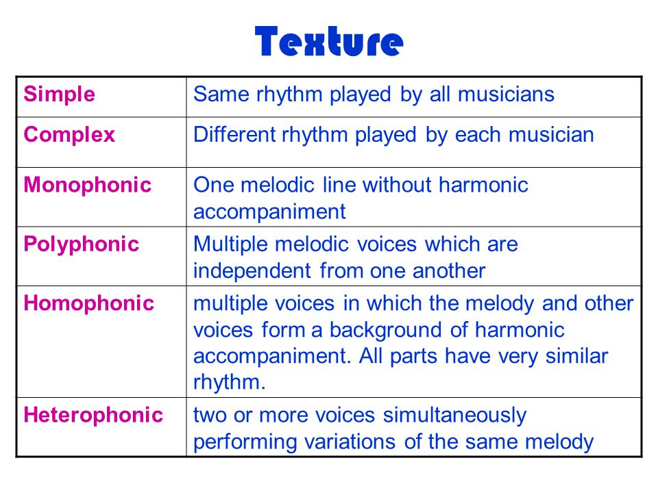 Texture Simple Same rhythm played by all musicians Complex