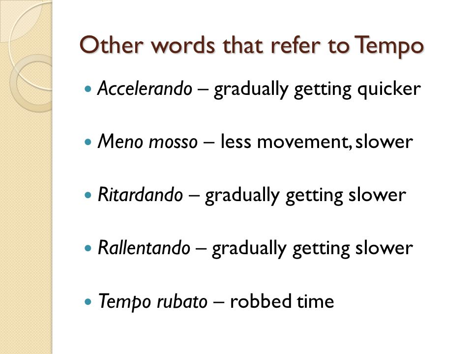 Other words that refer to Tempo