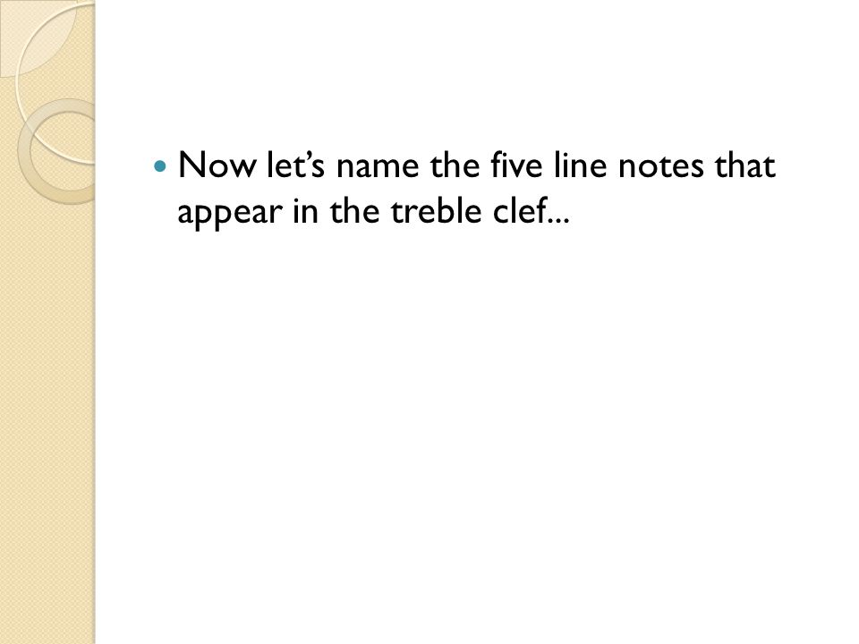 Now let's name the five line notes that appear in the treble clef...