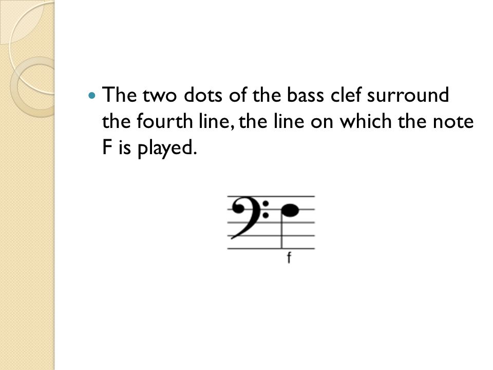 The two dots of the bass clef surround the fourth line, the line on which the note F is played.