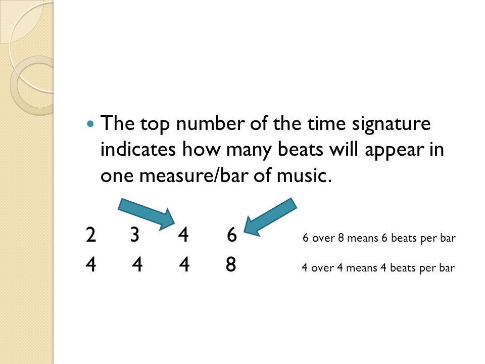 The top number of the time signature indicates how many beats will appear in one measure/bar of music.