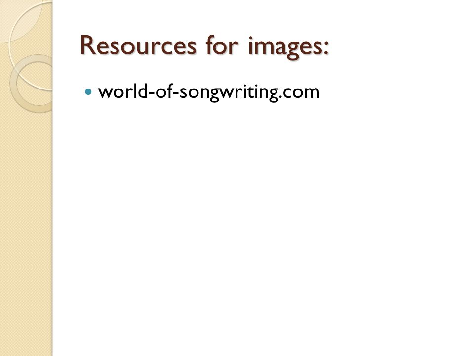 Resources for images: world-of-songwriting.com