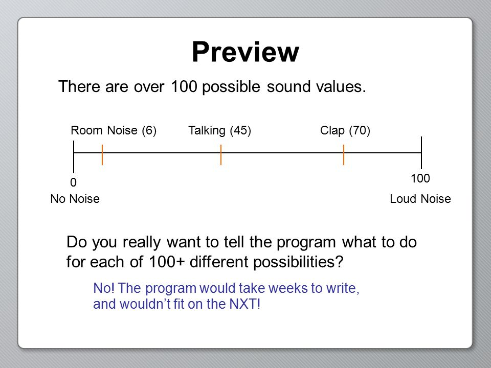 Preview There are over 100 possible sound values.