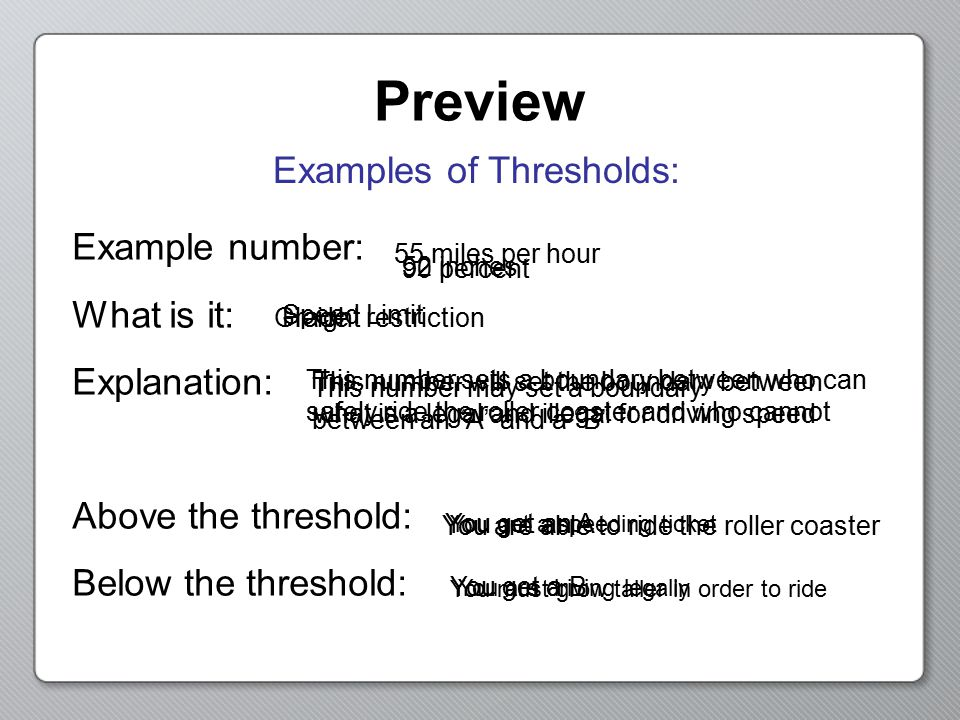 Examples of Thresholds: