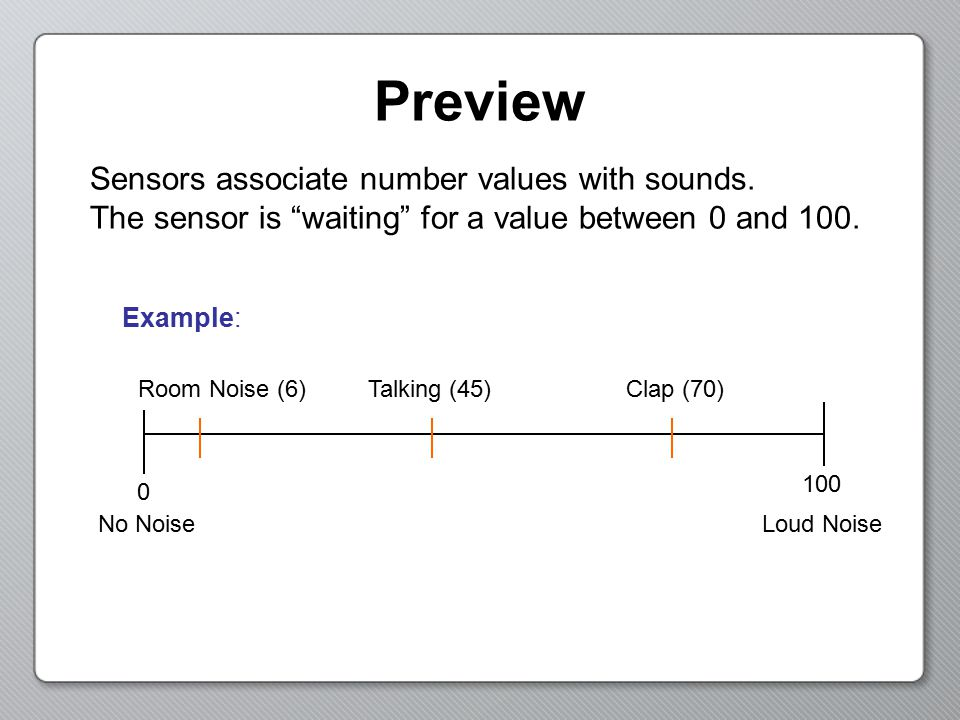 Preview Sensors associate number values with sounds.