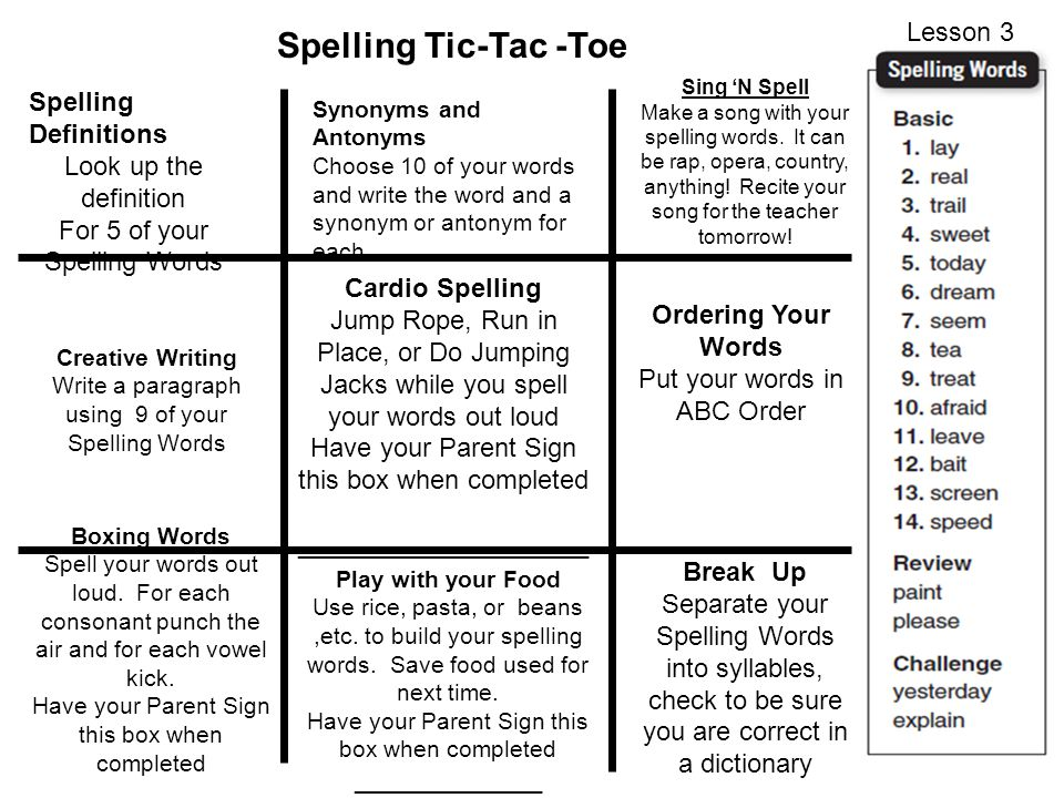 Spelling Tic Tac Toe Lesson 3 Spelling Definitions