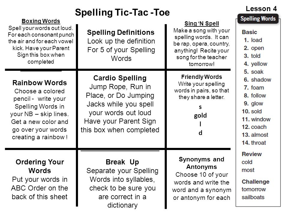 Spelling Tic-Tac -Toe Lesson 4 Spelling Definitions