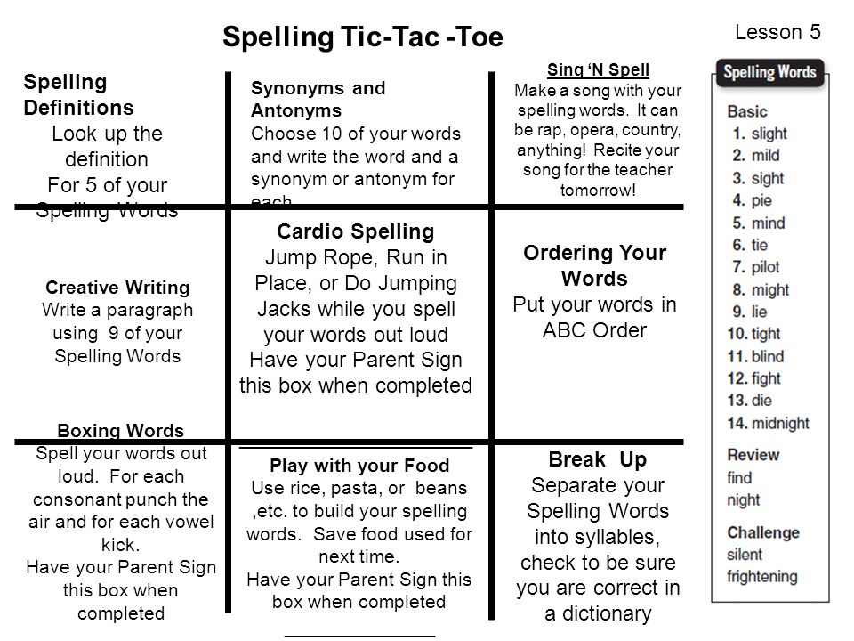 Spelling Tic-Tac -Toe Lesson 5 Spelling Definitions