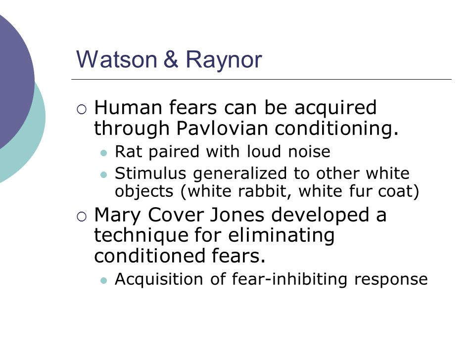 Watson & Raynor Human fears can be acquired through Pavlovian conditioning. Rat paired with loud noise.