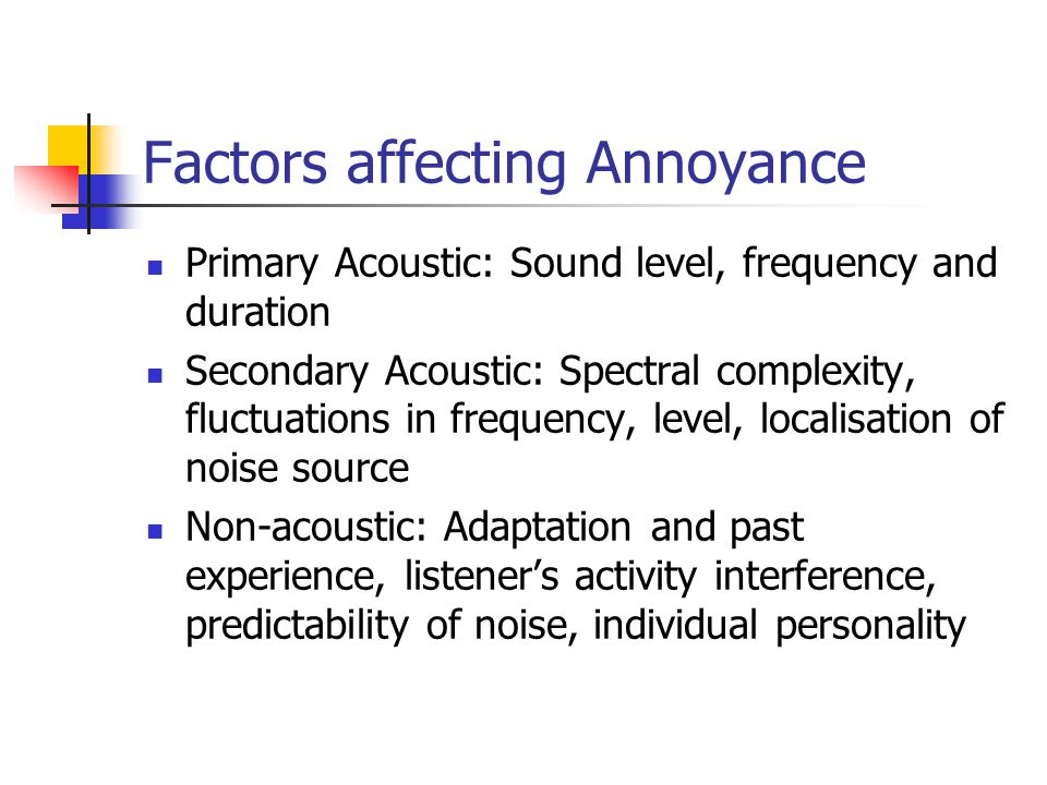 Factors affecting Annoyance