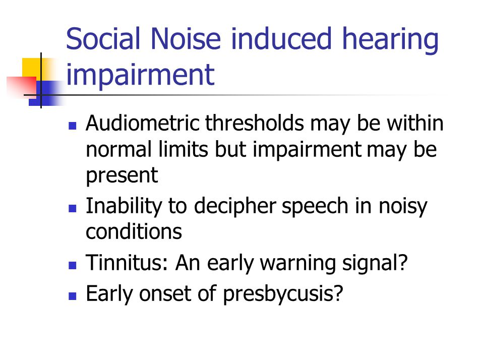 Social Noise induced hearing impairment