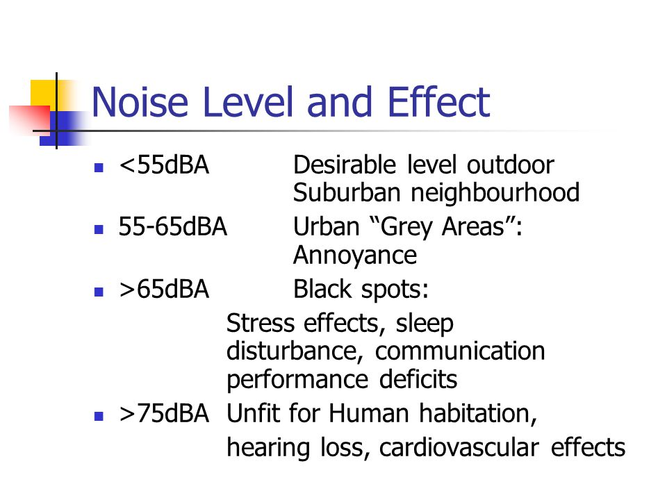 Noise Level and Effect <55dBA Desirable level outdoor Suburban neighbourhood. 55-65dBA Urban Grey Areas : Annoyance.