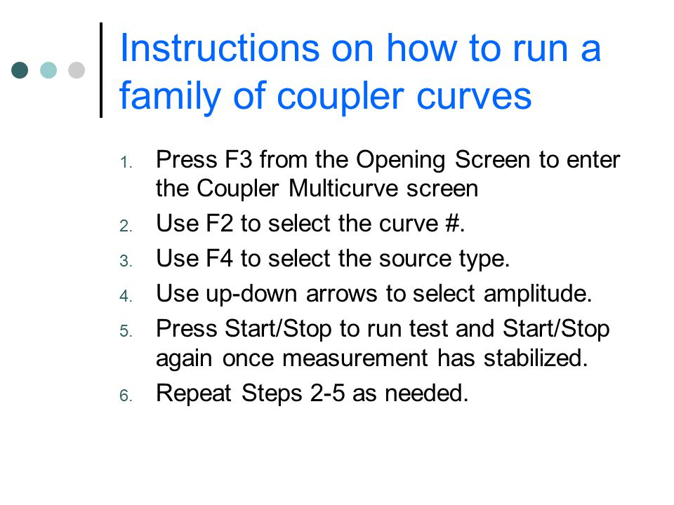 Instructions on how to run a family of coupler curves