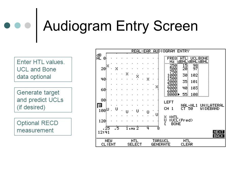Audiogram Entry Screen