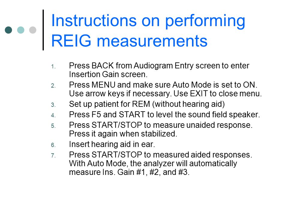 Instructions on performing REIG measurements