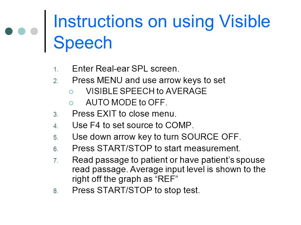 Instructions on using Visible Speech