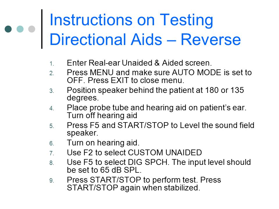 Instructions on Testing Directional Aids – Reverse