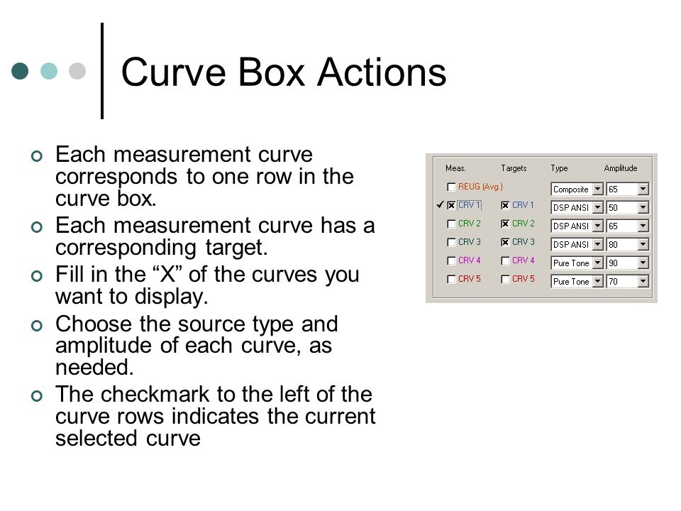Curve Box Actions Each measurement curve corresponds to one row in the curve box. Each measurement curve has a corresponding target.